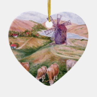 on the field ceramic heart decoration