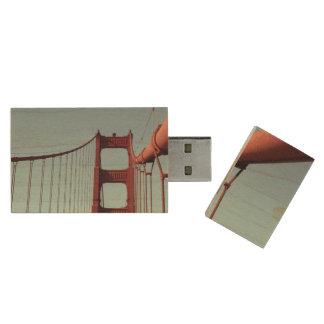 On The Golden Gate Bridge Wood USB 3.0 Flash Drive