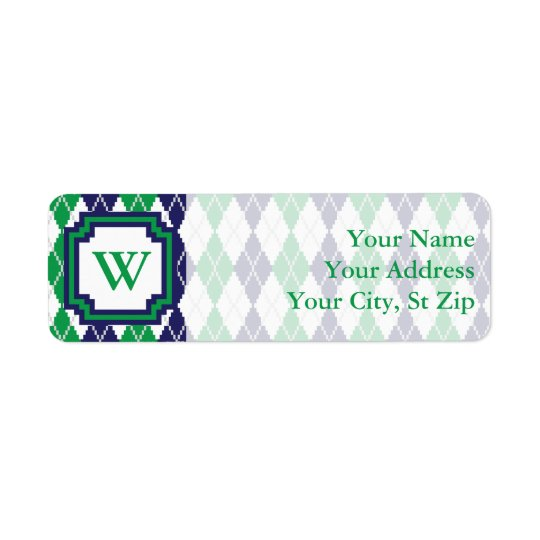 On the Green Argyle Return Address Label