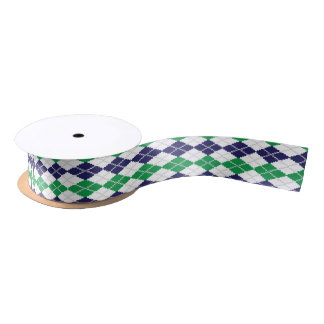 On the Green Argyle Ribbon Satin Ribbon