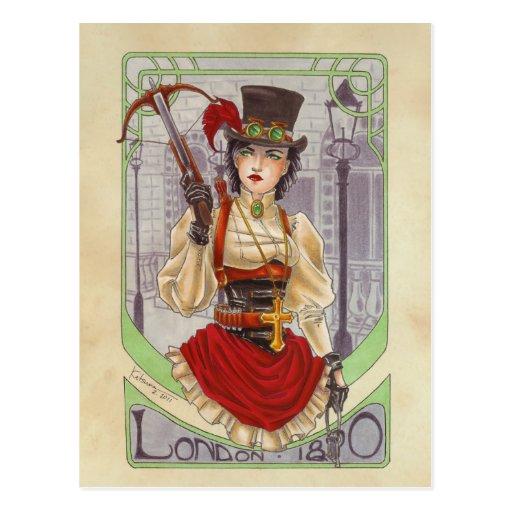 On the Hunt - London 1890 postcard