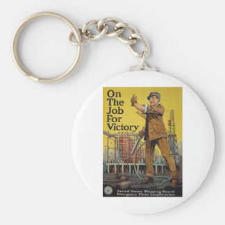 On The Job For Victory Basic Round Button Key Ring
