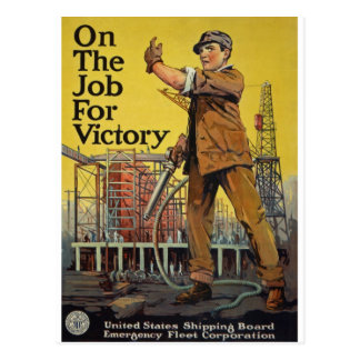 On The Job For Victory Postcard