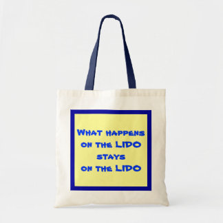 On the Lido Blue on Yellow Budget Tote Bag