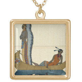 On the Missouri, 1922 (pochoir print) Gold Plated Necklace