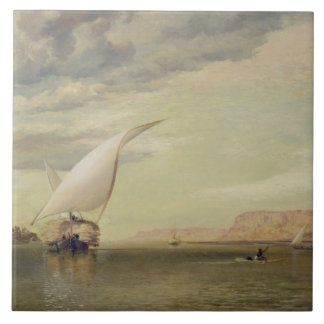 On the Nile (oil on canvas) Large Square Tile