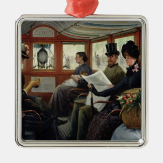 On the Omnibus, 1880 Silver-Colored Square Decoration