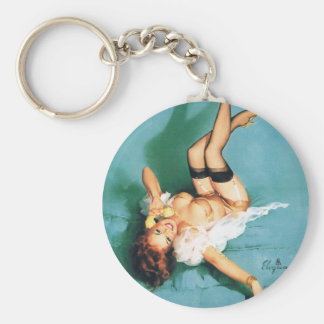 On the Phone - Vintage Pin Up Girl Basic Round Button Key Ring