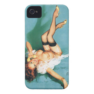 On the Phone - Vintage Pin Up Girl iPhone 4 Case-Mate Case