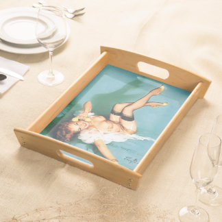 On the Phone - Vintage Pin Up Girl Serving Trays