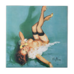 On the Phone - Vintage Pin Up Girl Small Square Tile