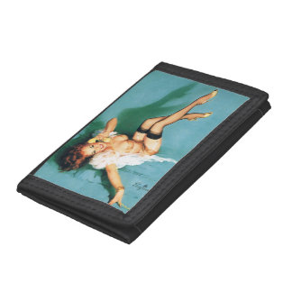 On the Phone - Vintage Pin Up Girl Trifold Wallets