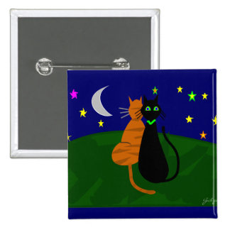 """""""On The Prowl"""", Cat Art Gifts--Artist Drawn/Signed 15 Cm Square Badge"""