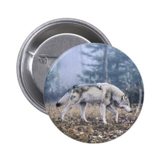 On the Prowl Timber Wolf Button