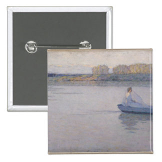 On the River, Morning, 1896 15 Cm Square Badge
