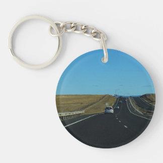 On the Road Single-Sided Round Acrylic Key Ring
