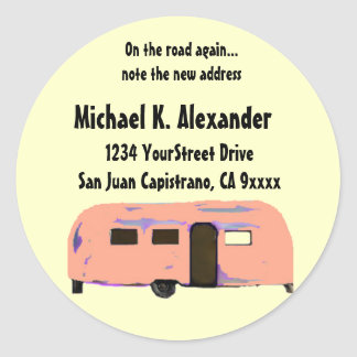 On the Road Trailer Round Sticker