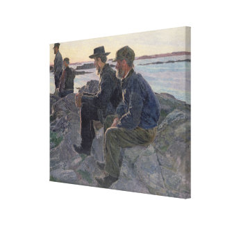 On the Rocks at Fiskebackskil, 1905-6 Canvas Print