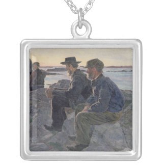 On the Rocks at Fiskebackskil, 1905-6 Silver Plated Necklace