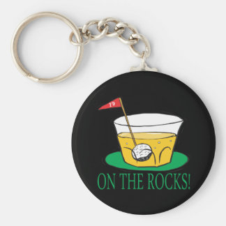 On The Rocks Basic Round Button Key Ring