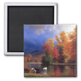 On the Saco - Albert  Bierstadt Square Magnet