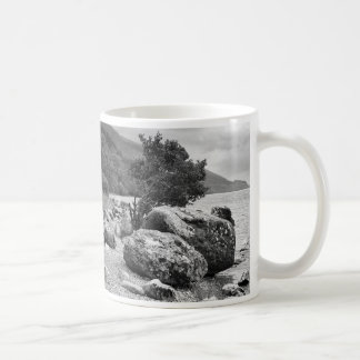 On the shores of Loch Ness B&W Mugs