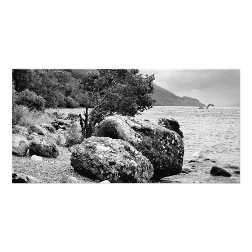 On the shores of Loch Ness with the monster Nessie Photo Card