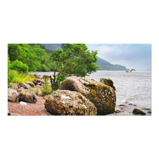 On the shores of Loch Ness with the monster Personalized Photo Card