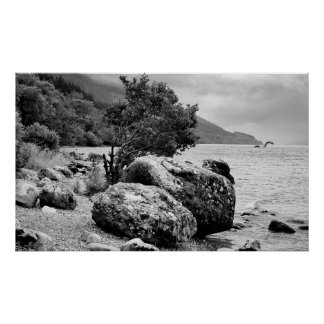 On the shores of Loch Ness with the monster Print