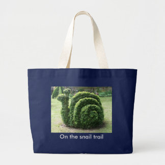 On the snail trail garden shopping beach large tote bag