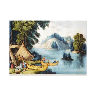 On-the-St. Lawrence Indian encampment Oil Painting Stretched Canvas Prints