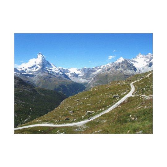 On the trail, Matterhorn View, Swiss Alps Canvas