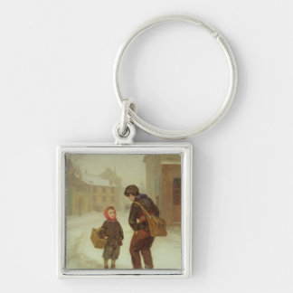 On the way to school in the snow, 1879 Silver-Colored square key ring