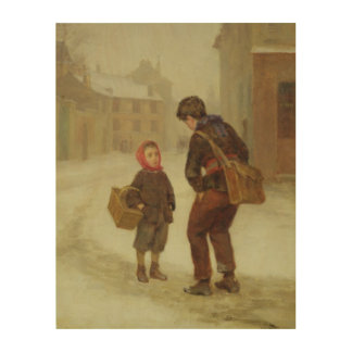 On the way to school in the snow, 1879 wood wall decor