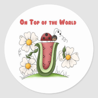 On Top of the World Round Stickers