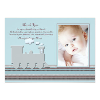 On Track Blue Photo Thank You Card 13 Cm X 18 Cm Invitation Card