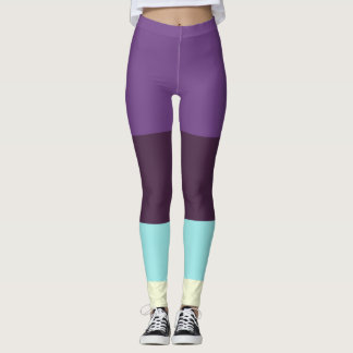 On trend Colour panel leggings in Purple and blue