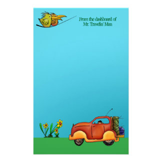 On Vacation Traveling Man Stationery Note Paper