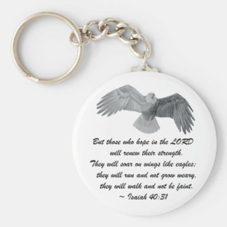 On wings like Eagles - Is 40:31 Basic Round Button Key Ring
