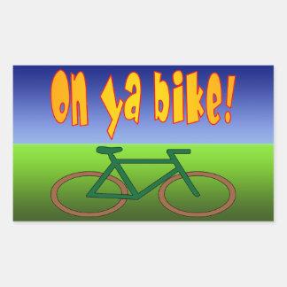 On Ya Bike! Cycling Go Green Zero Emissions Rectangular Sticker