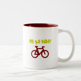 On Ya Bike! (yellow text & red bicycle) Two-Tone Mug