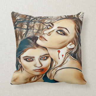 once bitten vampire throw pillow