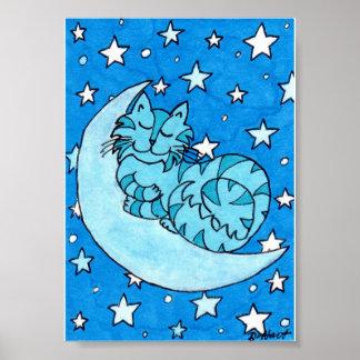 Once in a Blue Moon Mini Folk Art Cat Poster