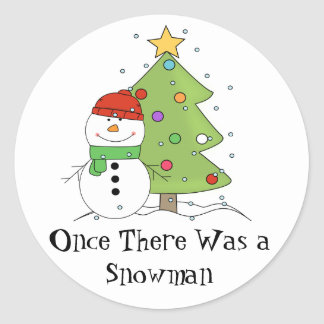Once There Was a Snowman LDS Primary Christmas Round Sticker