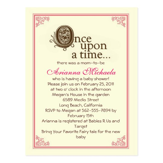 Once upon a time Baby Shower Invitation Postcard