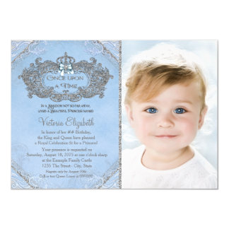 Once Upon a Time Photo Princess Birthday 11 Cm X 16 Cm Invitation Card