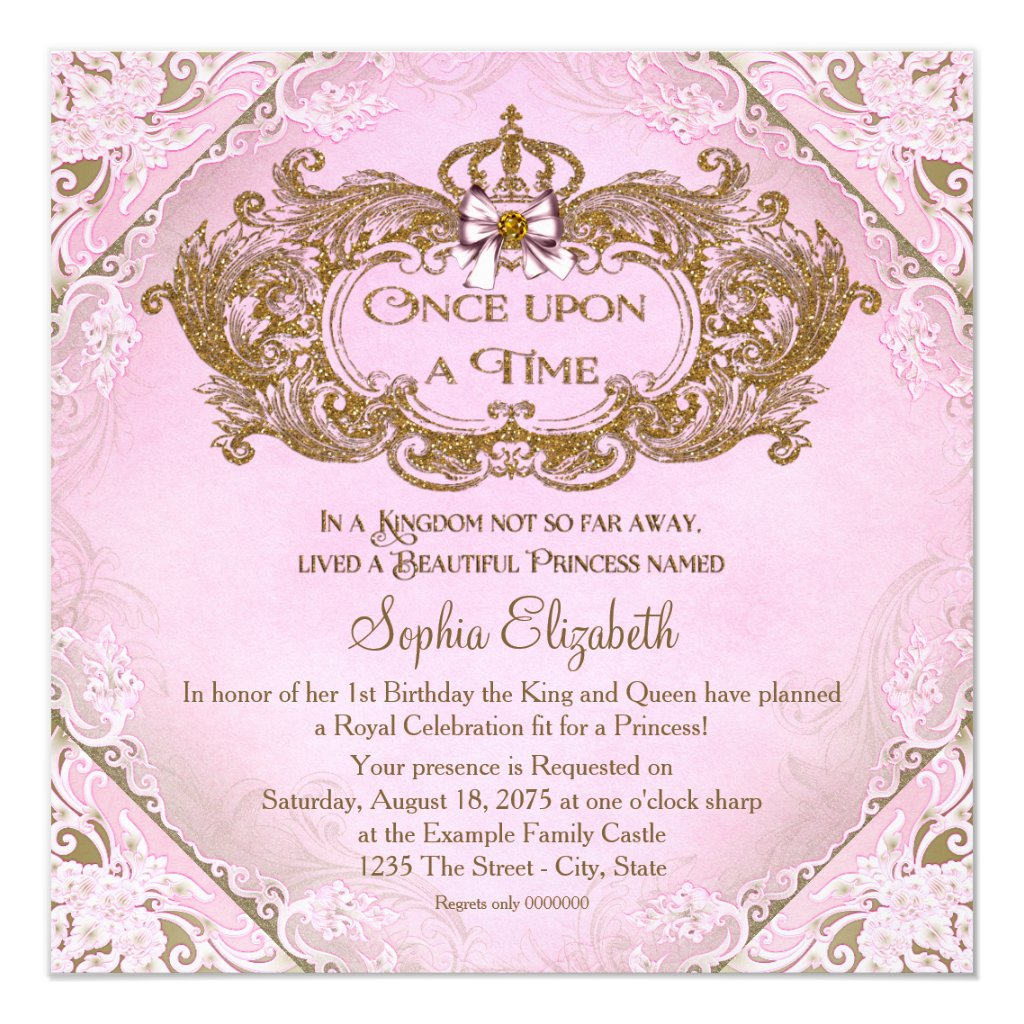 Once Upon a Time Princess 1st Birthday Card