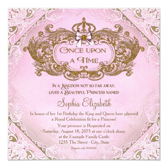 1st birthday invitations announcements zazzle once upon a time princess 1st birthday card stopboris Image collections