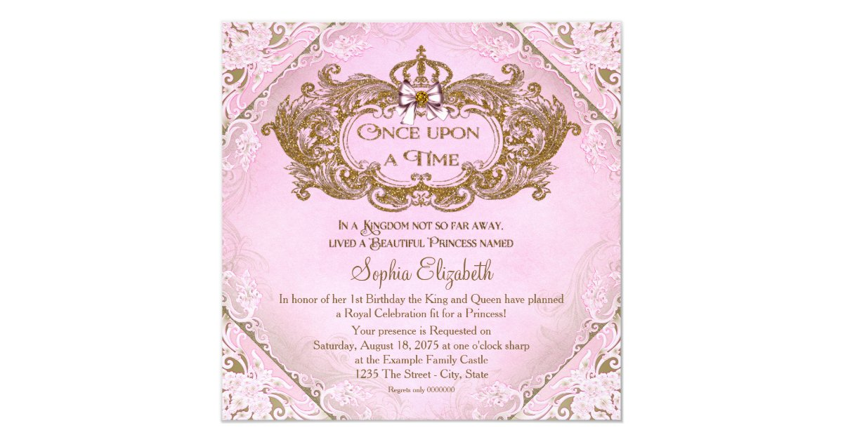 Once upon a time princess 1st birthday card zazzle bookmarktalkfo Choice Image