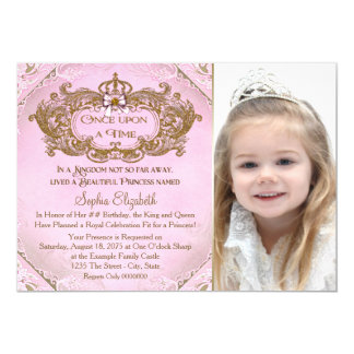 Once Upon a Time Princess Photo Birthday Party 13 Cm X 18 Cm Invitation Card